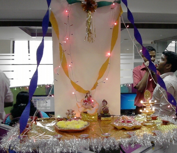 Bay decoration in office for diwali celebration at for Bay decoration in office