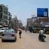 Different vehicles on the Kovilpatti main road near bus stand in Thoothukudi district