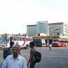 Buses waiting for passengers at Vadasery Christopher Bus Stand in Nagercoil town
