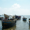 Fishermen and boats view at Thoothukudi