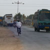 A view of buses at Tuticorin district bypass roadway